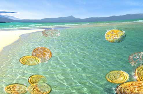 gold coins at little wateoe beach 11, most easterly point of australia